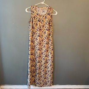 Vtg Bobbie Brooks Midi Dress Tan Paisley Floral